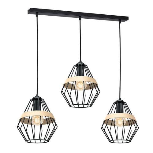 Lampă suspendată neagră Cliff Black 3x E27