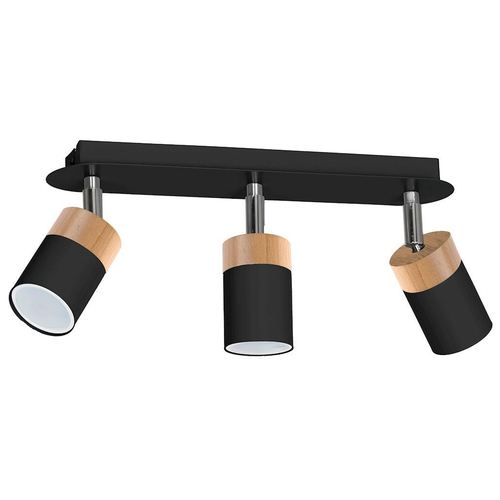Lampă de tavan neagră Joker Negru / Lemn 3x Gu10