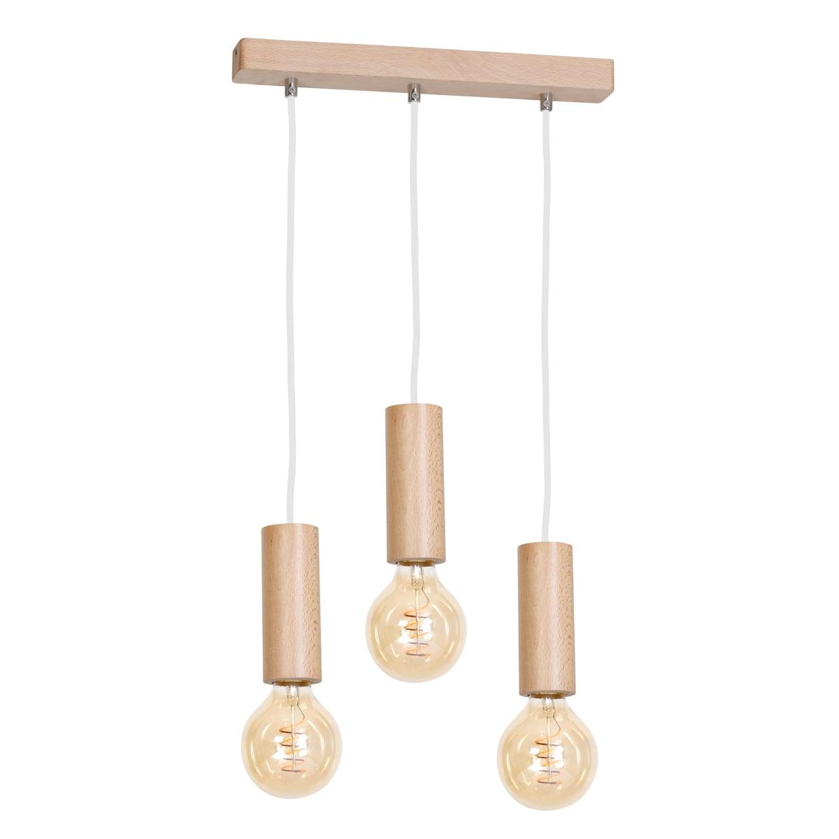 Lampa suspendată Milagro BOSCO 613 Lemn natural 3xE27 40W