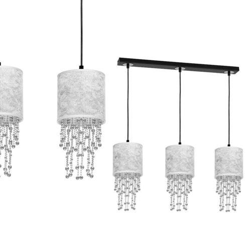 Lampă suspendată neagră Almeria Silver / Chrome 3x E27