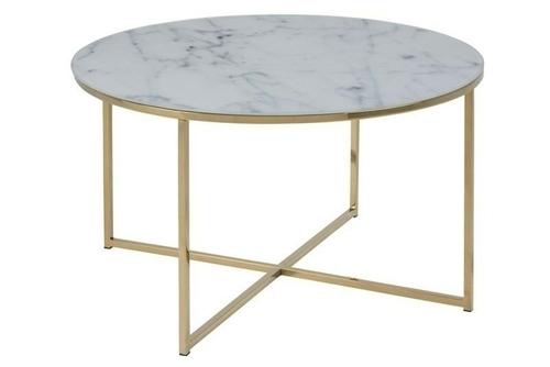 ACTONA TABLE ALISMA 80 - sticlă, picioare aurii