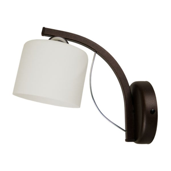 Lampa de perete Braț colin maro, abajur alb