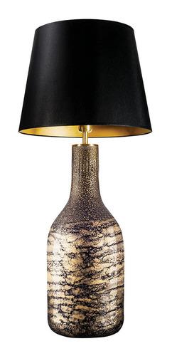 Lampă de masă cu abajur Famlight Alor black & Gold Shiny E27 60W