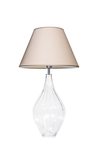 Lampă de masă din sticlă Borneo Optic Transparent Famlight bej / alb E27 60W