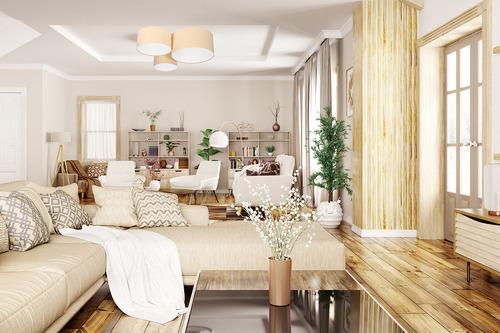 Plafoniera la modă - Elements 60W E27 plafond crem / velur alb