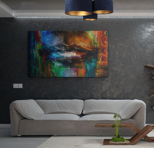Tavan modern Elements 60W E27 țesătură bleumarin / velur auriu