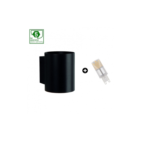 Pachet de 5 ani garanție: Squalla G9 Tuba Black + Led G9 4w Ww (Slip006012 + Woj + 14433)