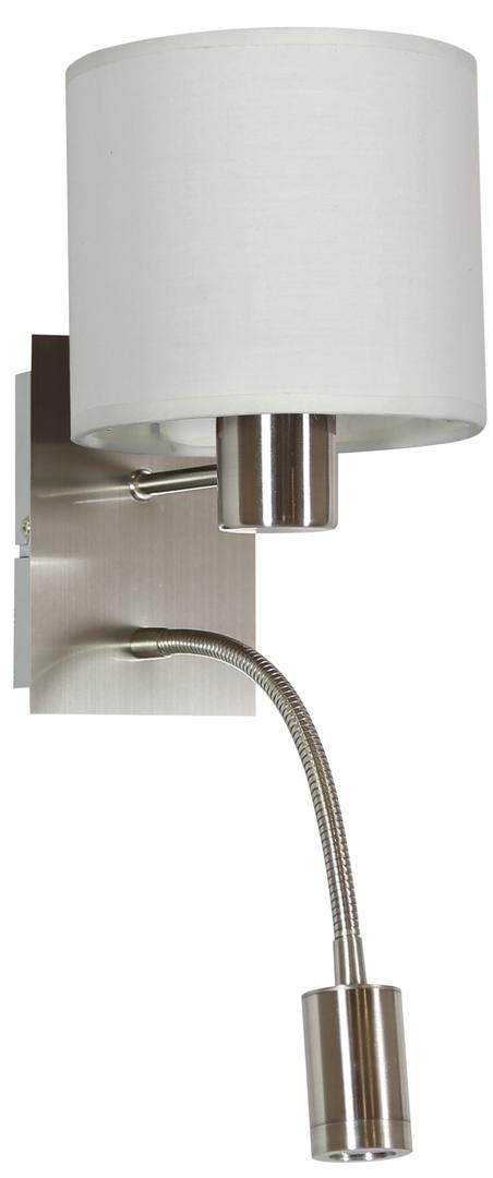 Lampă de perete Sylwana Lampă 1X40W E14 + Led cu întrerupător nichel satinat / alb