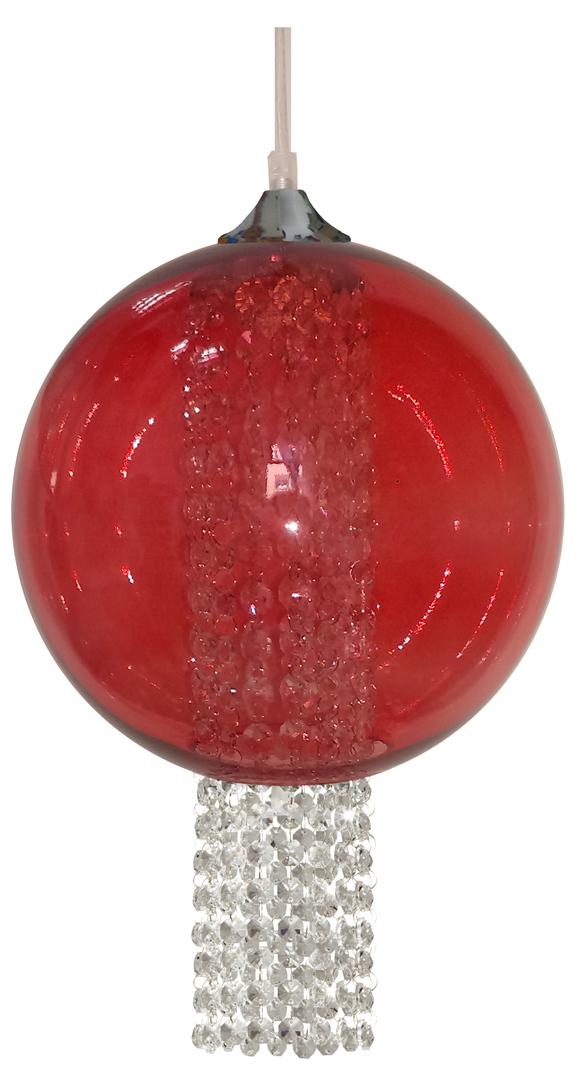 Lampă suspendată Allani 25 1X60W E27 Roșu cu cristale