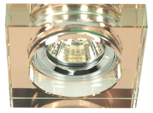 Ss-16 Ch / Br Mr16 Chromochko Plafoniera Lampă de tavan fixă pătrată sticlă maro
