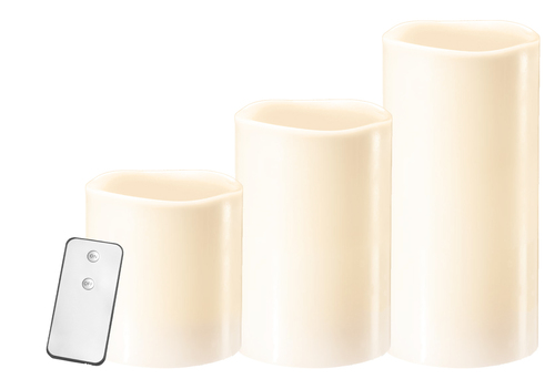 Un set de 3 lumânări de ceară cu telecomandă