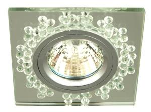 Ss-18 Ch / Tr Mr16 Sticlă transparentă pătrată fixă din tavan cu finisaj crom small 0