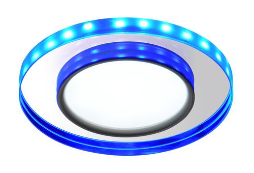 Ssp-23 Ch / Tr + Bl 8W LED 230V Ring Led Blue Eyelet Plafond Lampă de tavan fixă rotundă din sticlă transparentă