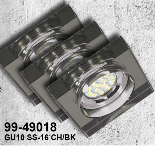 Set de trei corpuri de iluminat Ss-16 Ch / Bk 3X3W Gu10 Led cu bec LED Tavan crom fixat pătrat sticlă neagră