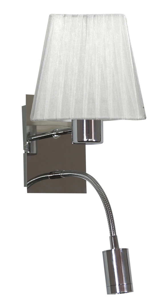 Lampă de perete Sylwana Lampă 1X40W E14 + Led cu întrerupător Chrome / pătrat alb