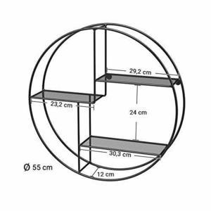 Raft rotund de perete, 3 nivele negru LFS01BK small 5