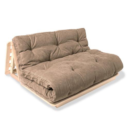 FUTON 140x200 canapea extensibilă Layti 140 din lemn brut - bej