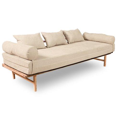 Canapea de zi Le MAR lemn crud - crem