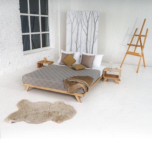 Pat din lemn Allegro pentru dormitor 140x200 lemn uns (ulei de in)