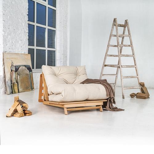 Canapea extensibilă japoneză FUTON 90x200 Layti 90, lemn cu ulei (ulei de in) - crem