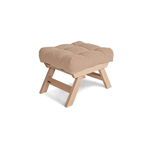 Scaun pentru picioare din lemn Allegro, puf din lemn cu ulei (ulei de in) - bej