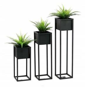 Suport pentru flori LOFT, suport pentru podea din metal, CUBO 50 cm, negru small 3