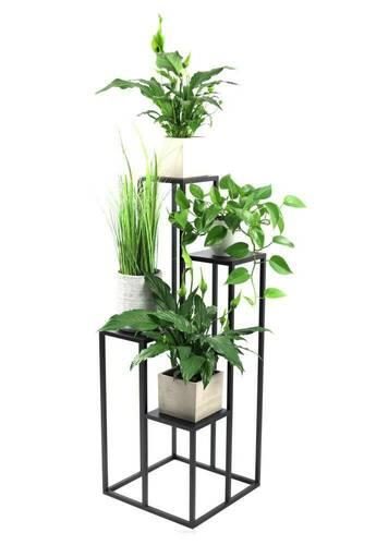 Suport metalic pentru patru flori METALLO 112cm LOFT negru