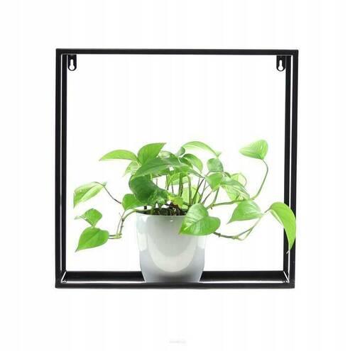Pat de flori metalic / raft de plante 45/45 / 15cm, LOFT negru