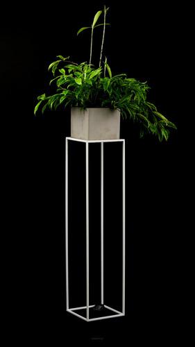 Pat de flori LOFT suport metalic pentru o oală 100cm alb