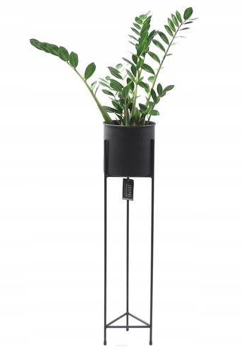 Pat de flori LOFT metal stand cu oala FIORI 100cm negru