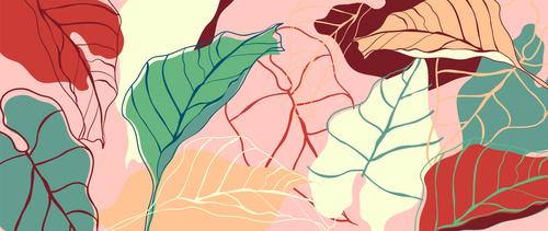 Fotomural frunze colorate, minimalism, roz, verde, roșu, nuanțe