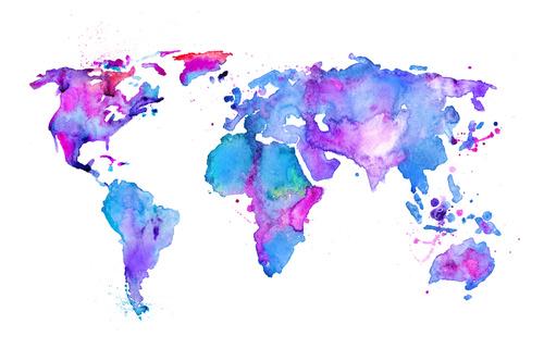 Fotomural Harta lumii, violet, albastru, hartă, acuarelă