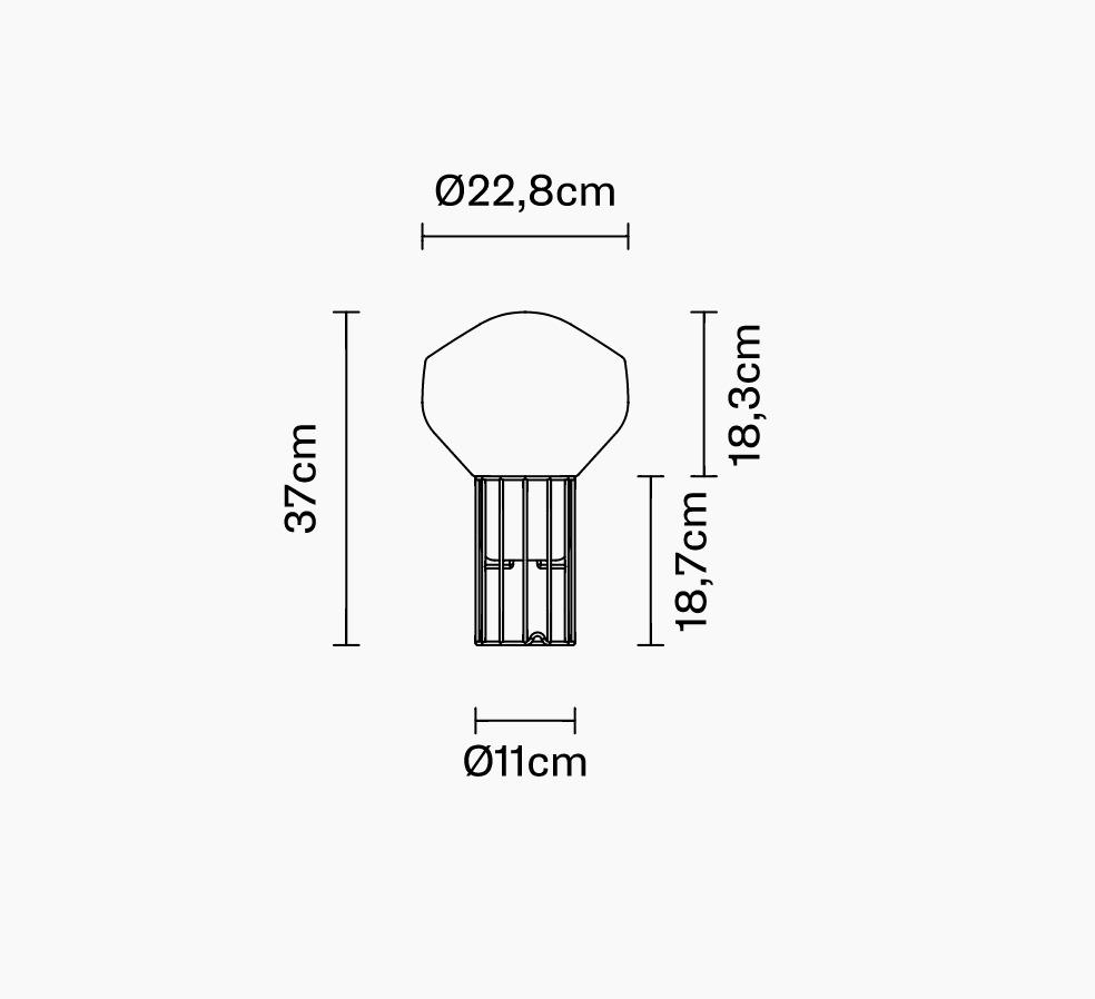 Lampă de masă Fabbian Aérostat 22,8 cm - alamă - F27 B01 19