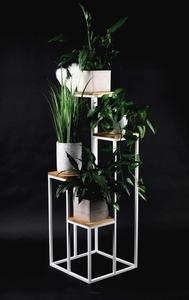 Pat de flori din metal Stand pentru patru flori Lemn TAVOLO 112cm alb LOFT small 0