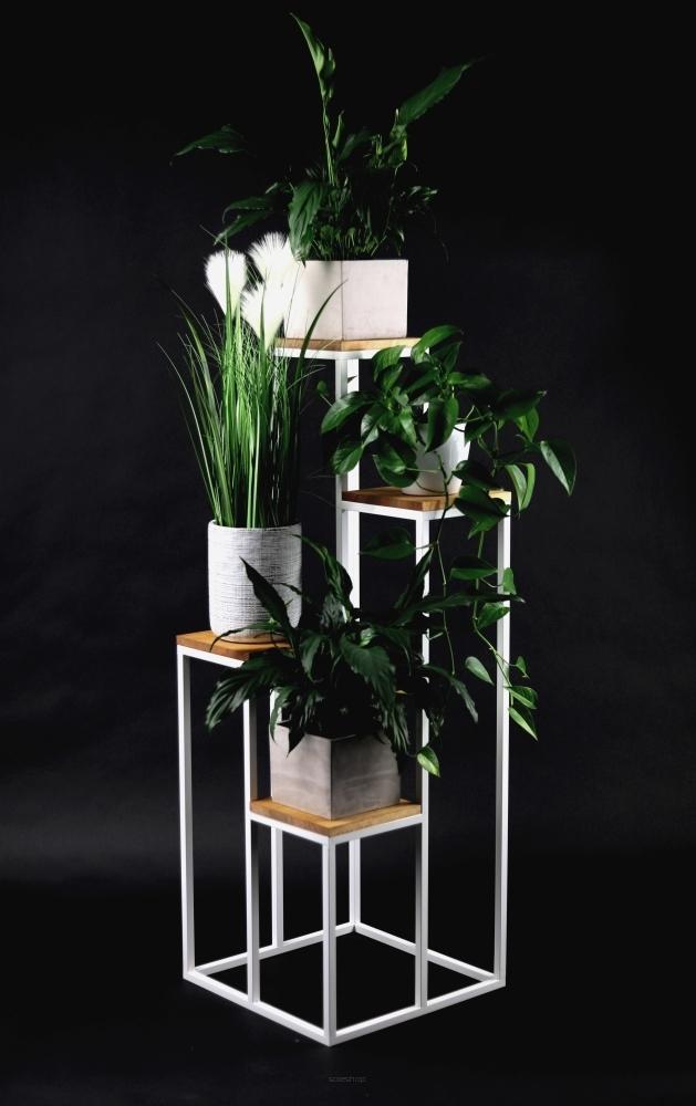 Pat de flori din metal Stand pentru patru flori Lemn TAVOLO 112cm alb LOFT