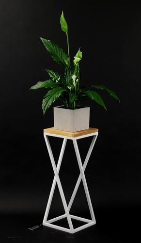 Suport metalic din lemn pentru plante TAVOLO 60cm mansardă albă