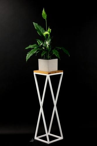 Pat de flori Stand din lemn pentru plante TAVOLO 80cm mansardă albă