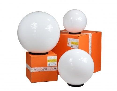 Set de trei lămpi moderne de grădină Luna bilă 20 cm, 30 cm, 40 cm, bile albe, luciu, becuri LED incluse