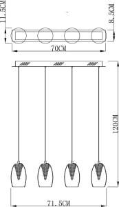 LAMPĂ INTERIOR (BANDĂ) LINIE DE ZUMĂ ENZO PENDANT MD1622-4A (CLEAR) small 2