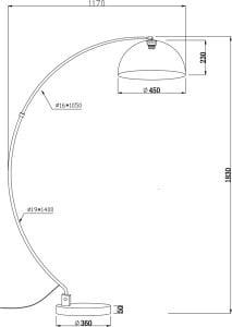 LAMPĂ INTERIOR (PIERTURI) ZUMA LINE LUZIA FLOOR TS-050402F-BKGO (nuanță aur în interior) small 2
