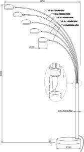 LAMPĂ INTERIOR (PISCĂ) ZUMA LINE BRANȚĂ PISOARE TS-5805-BKGO small 2