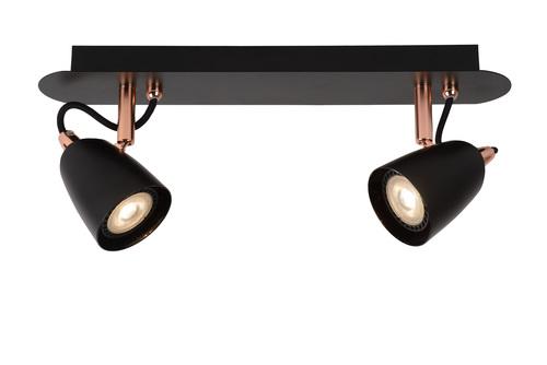 Plafond RODE cu două puncte negru cupru GU10