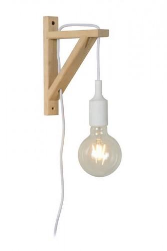 Lampă de perete Cablu alb FIXI WOOD E27