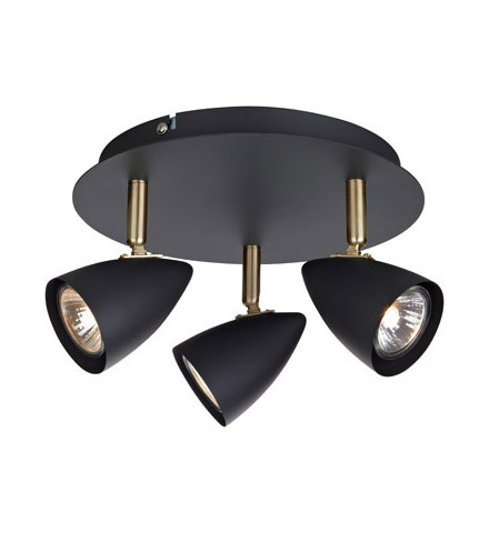 CIRO Plafon plafon 3L negru / auriu periat