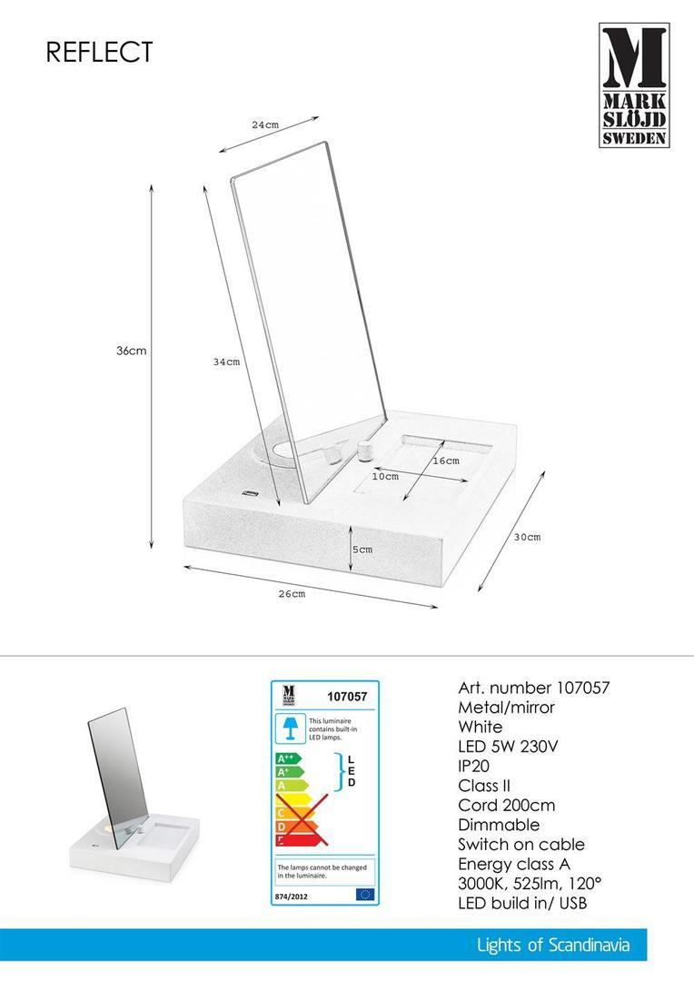 REFLECT Tabel 1L Oglindă albă USB