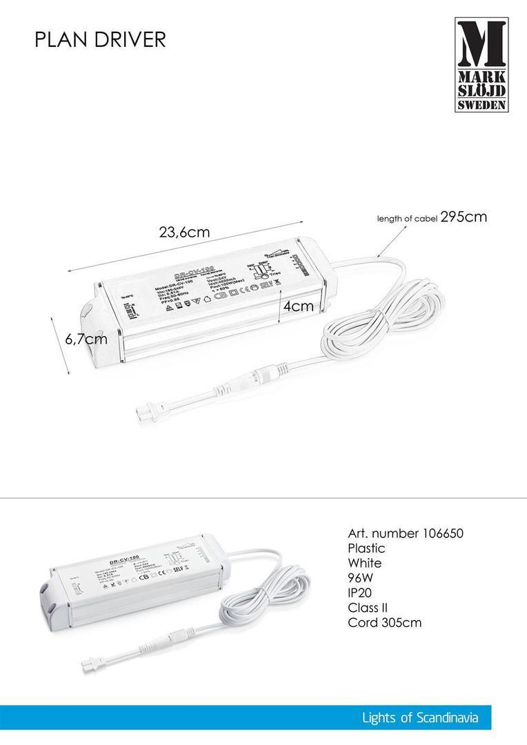 Adaptor CA de 96 W (pentru PLAN) Alb