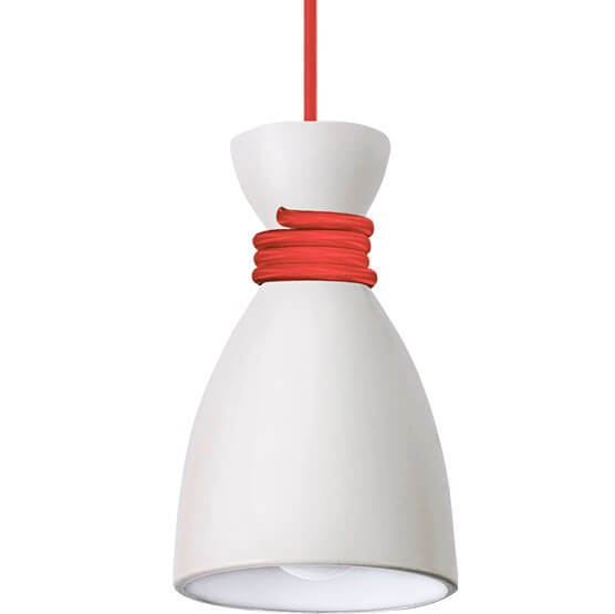 Lampa suspendată albă Cablu Naomi roșu