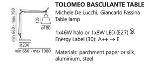 Lampa de birou Artemide BASCULANTE (abajur pergament) small 1