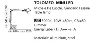 Lampa de masă Tolomeo mini alb small 1