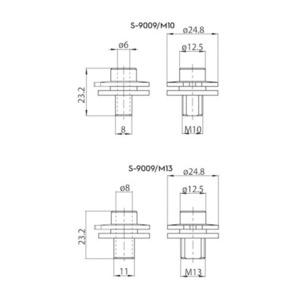 Conector ALU M13 pentru adaptoare 9009 și S-9000 / M, barele STUCCHI small 1